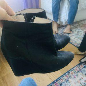 zara leather black booties wedge plat heel size 37